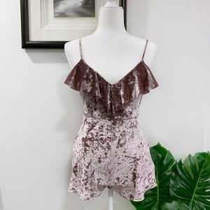 Urban Outfitters Crushed Velvet Romper Purple XS